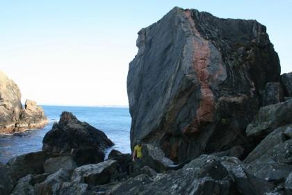 The massive Westside beach boulder
